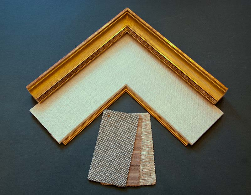 fabric mat sample with gold frame
