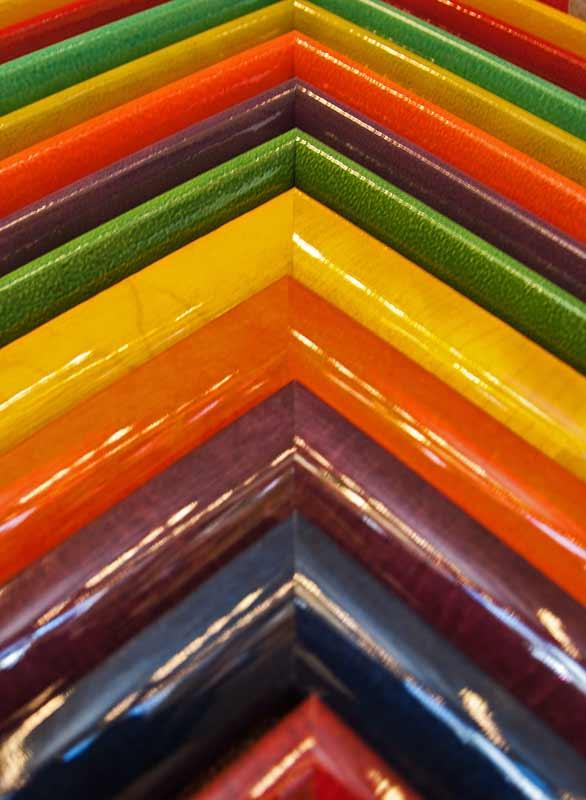 colorful resin frame samples for custom framing