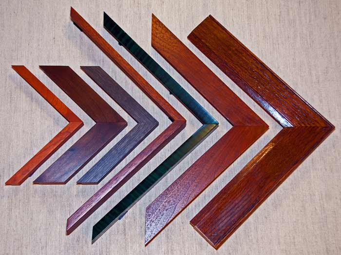 contemporary wooden frame samples shaped into an arrow