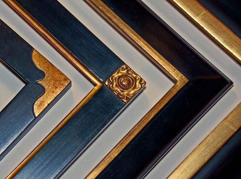 custom frame samples with hand carved gold leaf