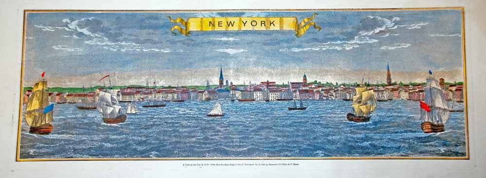 unframed artwork of new york harbor with gold edge