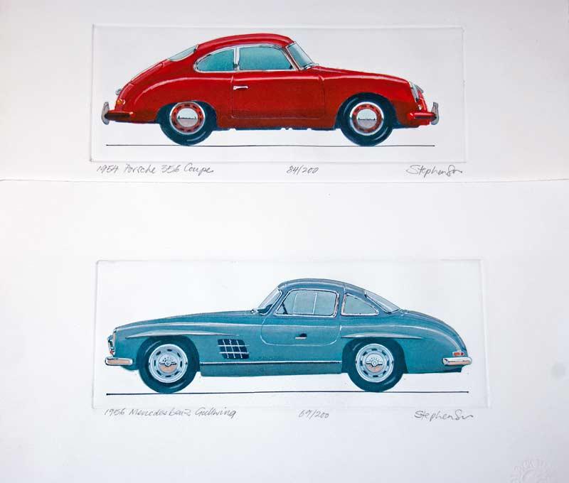 unframed artwork of cars
