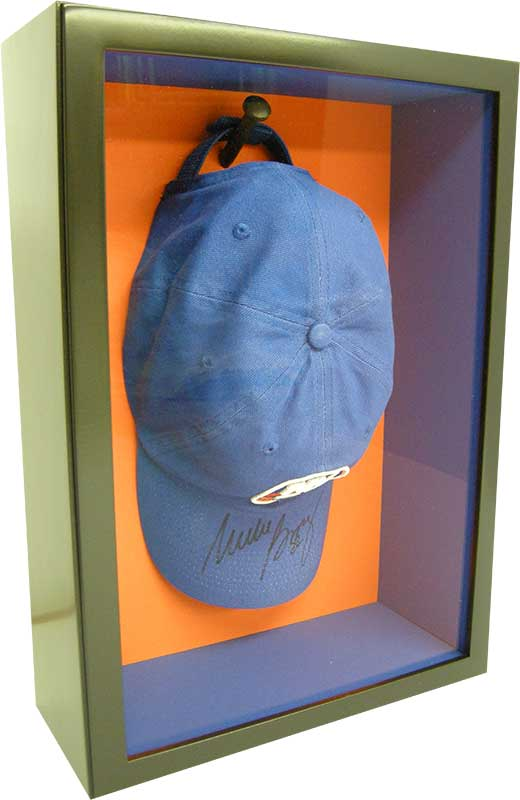 shadow box frame with sports cap